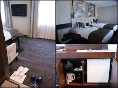松江エクセルホテル東急 スーペリアツイン (29.8㎡)  お腹がいっぱいになった後は松江観光♪ 車をこの日宿泊するホテルに預けて、、観光に出発!  午後2時にホテルに到着すると お部屋の準備が出来ているとの事、、 それでは、、と 早速お部屋へ、、 ところが… ダンナが部屋に入るや否や、、ベッドへ直進!バタンぐう~~~(笑) 運転が全く苦にならないダンナ、、 それでも、関西から松江まで一人で運転、、お疲れだったみたいですね、、  ダンナが爆睡している小一時間の間を利用して kuritchiはWifiを繋いだり、お部屋をパチリ!  入口から靴を脱いでお部屋に、、 冷蔵庫の中は空っぽ、、(自由にお使いください) Tパックのお茶やコーヒー、ポット、、 ペットボトル2本が置かれていました(^^