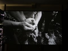 田口行弘「おくり水」。地元の人々が出演するビデオ・インスタレーション。