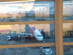 チェックイン⇒手荷物検査⇒出国審査を経て、搭乗口へ。 そしてまたベンチでウトウト・・・ 気が付くと夜が明けていました。 Peach航空、MM859便が準備中。
