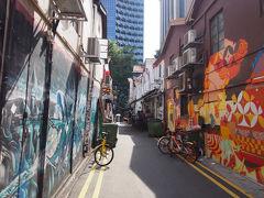 アラブストリートからまた歩いてフラトンへ  途中こんなウオールアートがかっこいい路地があります