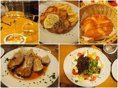 夕食は街へ。 ホテルで紹介してもらったレストランはアルペンシュトゥーベン。ホテルレストランです。宿泊したホテルと同系列。 ローストポーク、ウィーナーシュニッツェル(性懲りも無く)、サラダをシェア、リースリング。全部で52.40ユーロ(6,900円)。満足です。  日本では最近キャッシュレスが声高に叫ばれていますが、ドイツ・中欧は日本以上に現金社会です。レストランのウェイトレスは、昔のバスの車掌のような革製ウエストポーチをつけており、その場で現金決済。おつりもOKです。 事前に知っていたので、今回は多めにユーロキャッシュを持参しました。 ユーロが使えないチェコ、ハンガリーはネオマネー(プリペイド)カードで現金をATMで引き出します。