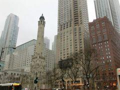 あまり観光の予習をしてこなかったので、連れていかれるがままにホストに付いていきました。  真ん中より少し左にあるタワーは、1871年のシカゴ大火で焼け残った唯一の現存する建築物、シカゴ・ウォーター・タワー、つまり給水塔だそうです。 中も見学することができました。