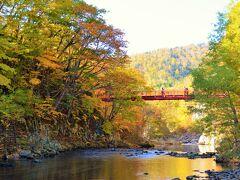 豊富な湯量で人々を魅了している 定山渓温泉観光の定番スポットといえば 渓谷に燦然と輝く真っ赤な二見吊橋。