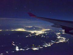 上空から富士山の夜景観賞
