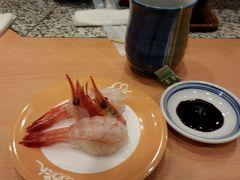 ここで食べないと、戻ってから後悔すると思い、天神ソラリア地下の 「ひょうたん寿司」へ。  食べるものはいつも同じ。 甘エビ。