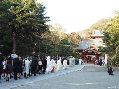 鶴岡八幡宮  鎌倉駅へ向かう途中、八幡宮の境内を通らせてもらったところ、 結婚式に向かう列を見守る人垣が出来ていいました。