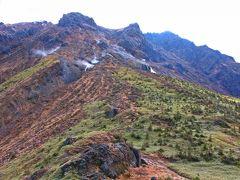 目の前の小山を超えたら背後の焼岳の山岳風景も見納めだが、そろそろ膀胱のタイムリミットに近づいている私は、焼岳にサヨナラを伝え、山を下る。