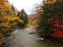梓川も爽やかな青みを抑えこみ、渋めの色合い。  大人な上高地の風景…といった感じか。
