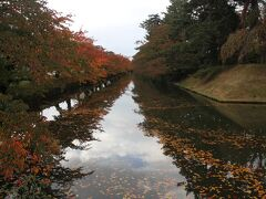秋の弘前城。桜の紅葉です。