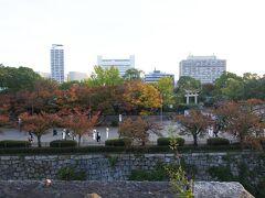 堀の外側を眺めると、 豊国神社の鳥居が見えます。  大阪では「ホウコク神社」 京都では「トヨクニ神社」 なんですねー。