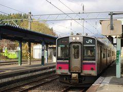 秋田県に入り、最初の駅・院内駅で下車します。 降りたお客は私1人・・・