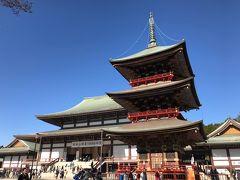帰り道。三重塔の横を通って、新勝寺の出口へ。