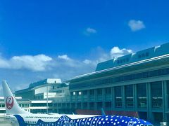 2時間後、夏色の空が残る沖縄に到着。  そっこーヒートテック脱いで、着替えましたよん。