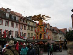「哲学者の道」と「ハイデルベルク城」の散策を終え、旧市街のマルクト広場のクリスマスマーケットを散策