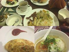 ホテル1階レストランでの朝食へ。 バイキング形式で色々ありました。オーダーでオムレツやヌードルも。
