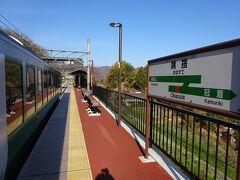 姨捨駅に到着。 ここで2本の電車とすれ違うために、17分停車する。