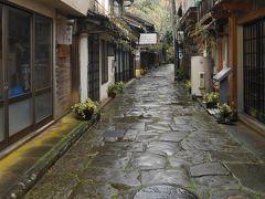 古い町並みと石畳の道が独特の雰囲気。 雨あがりで、青みがかかり綺麗でした。