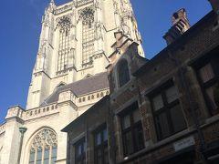 大聖堂が見えてきました。入口を探します。  ネロが見たかったルーベンスの絵がある場所。  作品では ネロはお金がなかったので、ルーベンスの絵を観ることをなかなか許されませんでした。  実際にこの大聖堂は入場料がかかります。