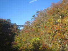 山一面が紅葉で覆われたトンネルから列車が現れるシーンをBSの旅番組とか列車の旅で観た事があるのですが、ここがその場所だと気付きました。死ぬまでに一度は来たかった場所だったので更にテンションが上がりました。今度は紅葉が満開の時を狙って写真の左側に写っている橋の上からこの場所を見たいと真剣に思いました。