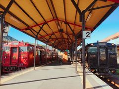 """鹿児島中央駅を出発して1時間半後、終点の吉松駅に到着。 そこから、別の列車に乗り換えるのですが、その赤い列車(特急 しんぺい号)は既に到着していました。  他のトラベラーさんの旅行記で良く見る、""""いさぶろう/しんぺい""""と""""はやとの風""""が並列してるのを私も撮影出来て良かった!"""