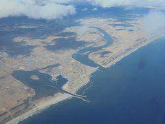 名取市上空 東日本大震災時 津波に襲われた地区です