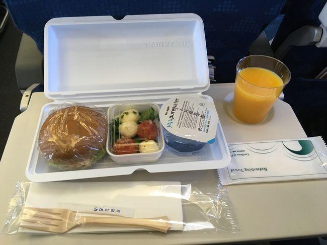 大韓航空は定刻発をしてくれる珍しい航空会社である。<br />1時間30分程度しか乗らないのに、簡単な機内食も出る。<br />サンドイッチはいまいちだが、モッツアレラチーズのサラダはうまかった。<br /><br />困ったのは、小松空港→仁川空港区間には、日本人CAが乗っていなかったこと。<br /><br />たまたま隣の乗客が韓国人で、多動の人だったんだ。<br />ずっと体を激しく動かして、私の座席まで振動が伝わってきて、困ったんだ。<br /><br />この状況を伝えるにもうまく伝わらないから、隣の乗客を見てもらって、座席チェンジができた感じ。<br /><br />小松空港→仁川空港便はガラガラなんだから、もっと贅沢に座席を使わしてくれてもいいのに!と思ったよ。<br />