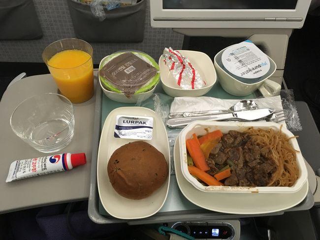 機内食は残念!ビビンバじゃないの。<br />なんでよー<br />どうしてよー。<br />ほんと、これ参った。<br />大韓航空はビビンバでしょ!