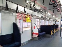 出雲市駅から出雲大社までは、電車で移動しました。電車のなかにしまねっこが!