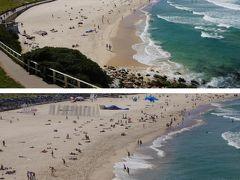 横に見えるのがこの景色です 「いいね!絶景だ!」 散歩も超気持ちがいいです! 広い砂浜と青い海、タスマニア海の白波が押し寄せて居ます 季節は早春ですが、砂浜には海水浴客の姿が見え、海にはサーファーが何人も浮かんでいます