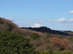 ホテルから伊豆半島越しに富士山がちょこっと見えます。この日も白い山頂が見えていました。
