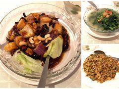 雨はほぼ上がり、エスプラネード・モールに入っている海鮮料理の「ノー・サイン・ボード」で夕飯を食べることにしました。 モールはマリーナ・スクエアから道を隔てた場所にあります。  中国野菜の炒め、ホタテの料理、チャーハンを注文。 野菜炒め、ニンニクが効いてる! ホタテがゴロゴロ入って、うま~い!! チャーハンもマル!