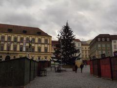 この日は祝日。 緑の広場はクリスマスマーケットも閉まり、寒~い雰囲気。