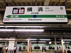 東海道線上りホームには、上野東京ライン経由高崎線直通・高崎行が停車しています。東海道線上り(東京)方面の初列車ですが、車内は立っている人が多いですね。