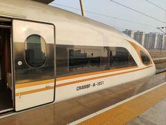 武漢駅に到着。 夕日に照らされるBF。 ちゃんと下に「CR400BF」と書いてある。