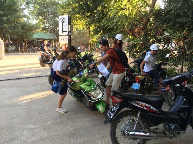総勢12名がそれぞれ簡単に自己紹介。皆さん1つとして国が重ならない。ヨーロッパ、オセアニア、アメリカ、アジアいろんな方面からミャンマーを訪れているのがよく分かる。<br />このツアーは中国製の電動自転車、Eバイクを使用する。<br />日頃から自動のものを運転し慣れてない私。<br />不安だわー、と思っていたら、他の参加者でEバイクを持っていた、イケメン兄ちゃんが後ろに乗せてくれた。<br />