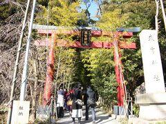 来宮神社の鳥居 13:50頃  駅近くのレストラン「とん一」でランチを摂った後は、来宮神社へお詣り。