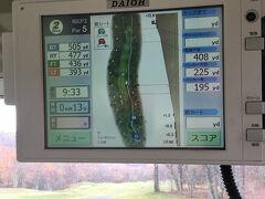 さて、ゴルフです!!! ここのカートは最新式で分かりやすい。