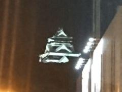 ホテル近くで、熊本城を発見。修復中でもライトアップは嬉しいですね。