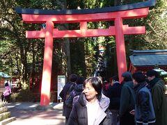 箱根関所前を通過し、箱根神社を抜けていきます。 節分で混雑してそうでした。 この鳥居の階段の奥に本殿が。 前、行ったので、上るのは省略。