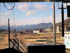 13:43 市城駅に着きました。(渋川駅から29分)  雪化粧した山を越えると我が故郷「信州(長野県 下高井郡 山ノ内町)」です。