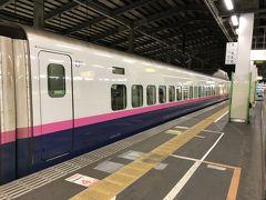 新潟駅より、E2系の新幹線に乗りました。 いつもはE4系新幹線の2階席好きで、わざとそれを狙って乗るのですが、今回は宿に早く着きたいため封印。