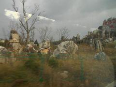 石林の石柱群が見えてきました。 地表に台地からの白い骨が突き出ているように 見えます。 赤い字で石林とか彫ってあるのが見えました。 山口県にある秋吉台の風景に似ている ように思いました。 ここはカルスト地形です。