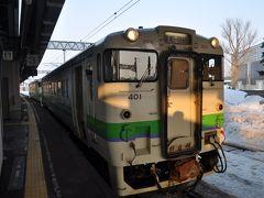 石狩当別駅で乗り換えます。  前方の車両が浦臼行き、後方の車両が新十津川行きです。