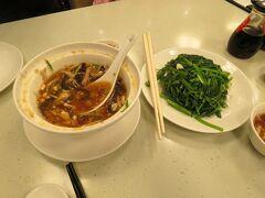 金品茶僂で晩ごはんにします! 酸辣湯と空心菜。