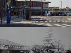 通りの突き当りに駅があり(下)、蒸気機関車が出入りしていた。  駅の誕生は明治時代で、最初は「中泉駅」と呼ばれていたが、昭和17年に「磐田駅」に改名され、その後改築もあったが、 平成(2000年)には橋上駅舎に改築されて、南口もでき、現在の姿になっている。