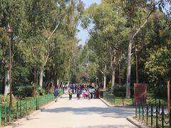次は、その近くにある「ラージ・ガート」へ。   ここはインド人でもっとも有名な人、「インド独立の父」ガンジーのお墓があるところです。  インドの紙幣の肖像画はすべてガンジーであり、インドでは尊敬されているようです。    一帯は公園のようになっていてガンジー意外にも多くの政治家などお墓がありました。