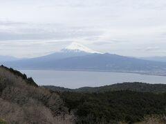 戸田を抜け達磨山のレストハウスへ。 ソフトクリームを食べて休憩。  駿河湾を挟んでそびえ立つ富士山 晴れていないのが残念!