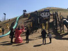 お昼を食べ宿のチェックインまで時間が有るので龍ケ崎の龍ヶ岡公園へ移動。 子供向けの遊具が充実しており沢山の家族連れが風の強いなか遊んでます  息子はこの手前の幼児向けの滑り台にハマってました。
