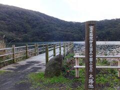 歩いて15分ほどで大路池に到着しました。2500年前にできた火山湖跡です。だいぶ下ってます。