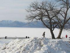 車窓より、屈斜路湖砂場の白鳥。  屈斜路湖のほどんどが凍っていたが、温泉と混ざる所では白鳥が見かけられた。